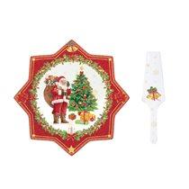 "Set platou si paleta tort ""Vintage Christmas - Tree"", portelan, 32 cm - Nuova R2S"
