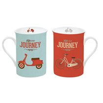 "Set 2 cani portelan 250 ml cu suport ""Life is a journey"" - Nuova R2S"