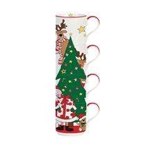 "Set 4 cani 275 ml ""Santa & Friends - Tree"" - Nuova R2S"