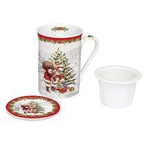 "Cana cu capac si infuzor 250 ml ""Christmas Tree"", alb - Nuova R2S"