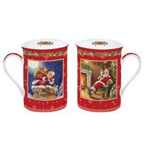 "Set 2 cani portelan 250 ml cu suport ""Christmas Time"", rosu - Nuova R2S"