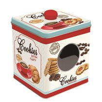 """Cutie metalica pentru biscuiti """"Cookies"""" 13 x 13 x 14.5 cm - Nuova R2S"""