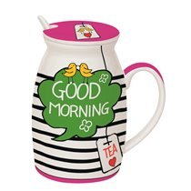 "Cana cu capac si lingura 300 ml ""Good morning"" - Nuova R2S"