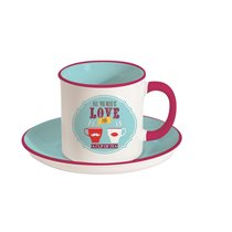 "Set cana si farfurie 225 ml ""All you need is love and Tea"" - Nuova R2S"