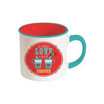 """Cana din portelan 300ml """"All you need is love and Coffee"""" - Nuova R2S"""