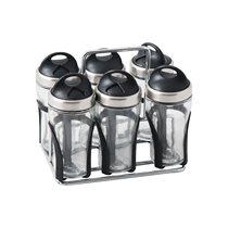 Set 6 recipiente condimente cu suport