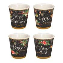 """Set 4 cesti espresso 80 ml """"Peace, Love, Joy"""" - Nuova R2S"""