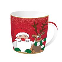 "Cana Craciun ""Christmas Friends"" rosie 350 ml din portelan - Nuova R2S"