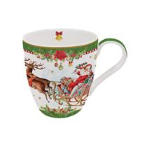 "Cana din portelan verde ""Vintage Christmas"" 350 ml, verde - Nuova R2S"