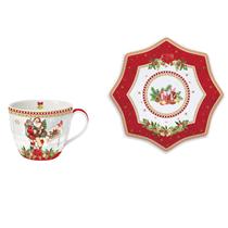 "Ceasca cu farfurioara din portelan rosie ""Vintage Christmas"" 250 ml, rosu - Nuova R2S"
