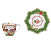 "Ceasca cu farfurioara din portelan ""Vintage Christmas"" 250 ml, verde - Nuova R2S"