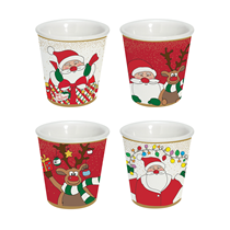 "Set 4 cesti cafea din portelan 100 ml ""Christmas Friends"" - Nuova R2S"