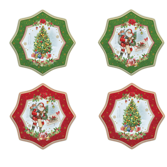 """Set 4 platouri 16 cm din portelan """"Vintage Christmas"""" - Nuova R2S"""