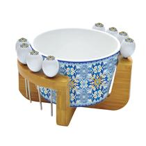 "Set bol cu suport + 8 betisoare aperitive ""Maiolica"" albastru - Nuova R2S"