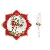 "Set platou si paleta tort, portelan ""Vintage Christmas"" 32 cm - Nuova R2S"