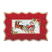 "Platou de servire din portelan ""Vintage Christmas"", rosu - Nuova R2S"