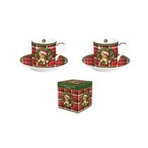 """Set 2 cesti espresso cu farfurioare """"Christmas Cat"""" - Nuova R2S"""