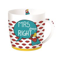"Cana din portelan 350ml ""MRS always right"", albastru - Nuova R2S"