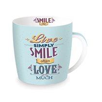 """Cana din portelan 350ml """"Smile often"""", albastru - Nuova R2S"""