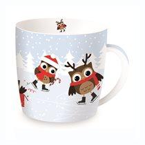 "Cana ""Christmas Owls"" din portelan 350ml, alb- Nuova R2S"