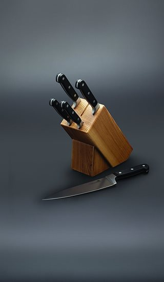 Set cutite 6 piese cu suport din lemn de stejar - Kitchen Craft