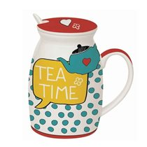 "Cana cu capac si lingura ""Tea Time"" 300 ml - Nuova R2S"
