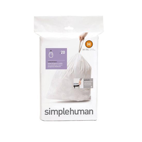 Saci de gunoi cod H, 30-35 L/ 20 buc. plastic - SimpleHuman