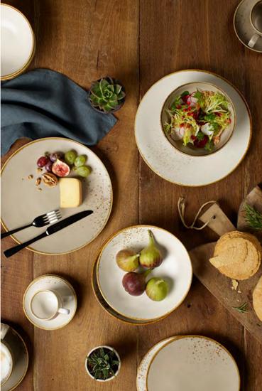 """Farfurie salata """"Stone Ware"""" 21,5 cm portelan, maro - Vivo"""