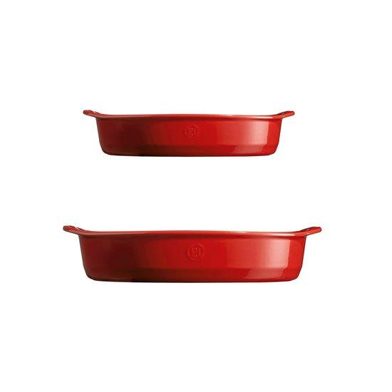 Set 2 tavi ovale pentru cuptor, Burgundy - Emile Henry