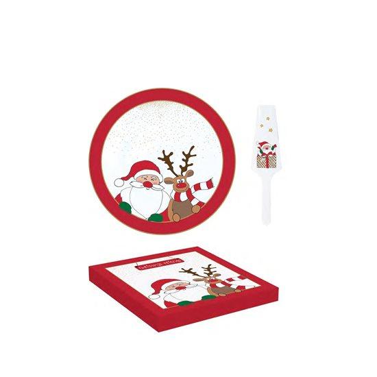"Set platou si paleta tort ""Christmas Friends"", portelan, 32 cm - Nuova R2S"