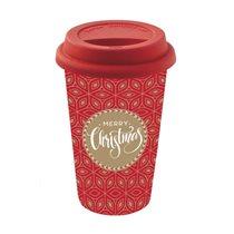 "Cana de calatorie ""Coffee Mania"" 350 ml portelan, rosu - Nuova R2S"