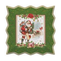 "Platou 30 x 30 cm portelan ""Vintage Christmas"", verde - Nuova R2S"