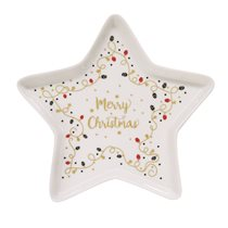 "Platou stea 19,5 cm portelan ""Merry Christmas"" - Nuova R2S"