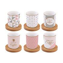 """Set 6 cesti cu farfurioare """"Coffee Mania"""" 110 ml portelan, roz si argintiu - Nuova R2S"""