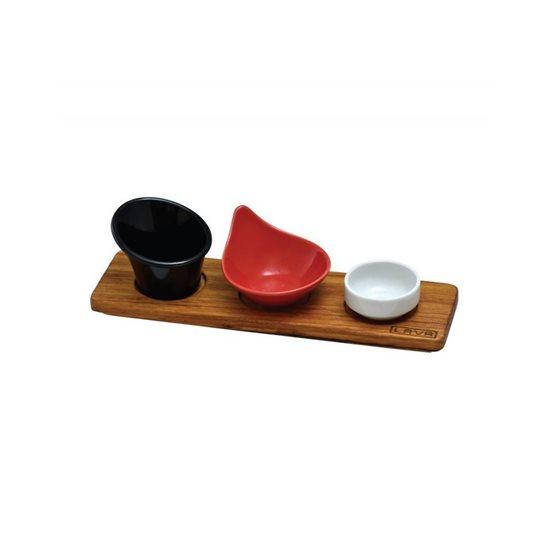 Platou lemn servire sosuri  - LAVA