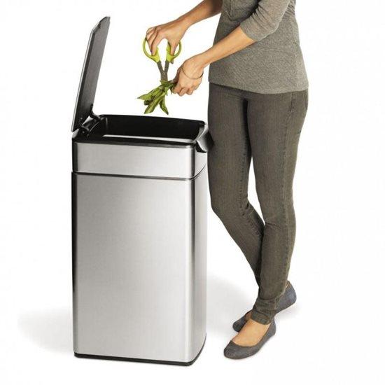 Cos de gunoi cu pedala superioara 40 L Slim inox - SimpleHuman