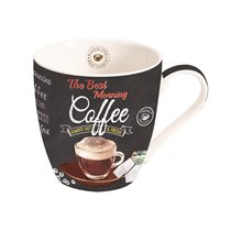 "Cana 350 ml portelan ""It's coffee time"", negru - Nuova R2S"
