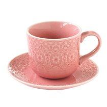 "Set cana 300 ml si farfurioara ""Ambiente"", roz cuart - Nuova R2S"