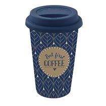 """Cana de calatorie """"Coffe Mania"""" 350 ml portelan, albastru - Nuova R2S"""
