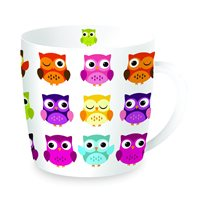 "Cana din portelan 350ml ""Owls - Bright"" - Nuova R2S"