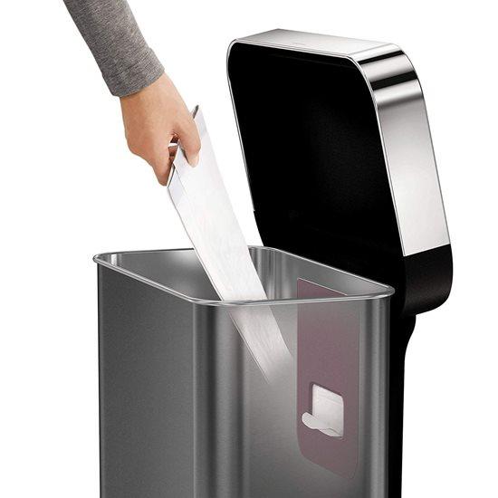 Cos de gunoi cu senzor 58 L inox, negru - SimpleHuman