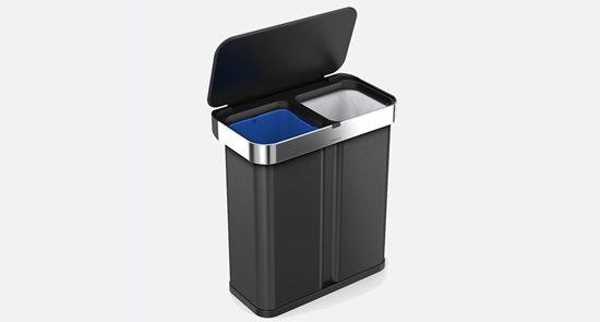Cos de gunoi dublu compartimentat cu senzor 58 L, negru - SimpleHuman