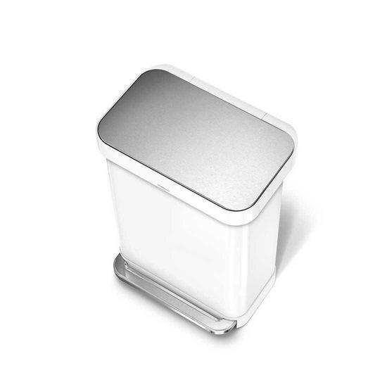 Cos de gunoi cu pedala 55 L inox, alb - SimpleHuman