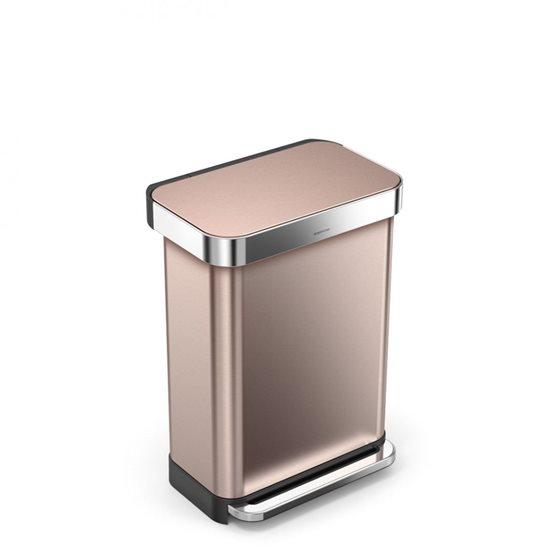 Cos de gunoi cu pedala 55 L inox, rose gold - SimpleHuman