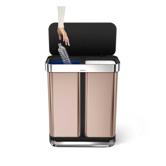 Cos de gunoi dublu compartimentat cu pedala 58 L inox, rose gold - SimpleHuman