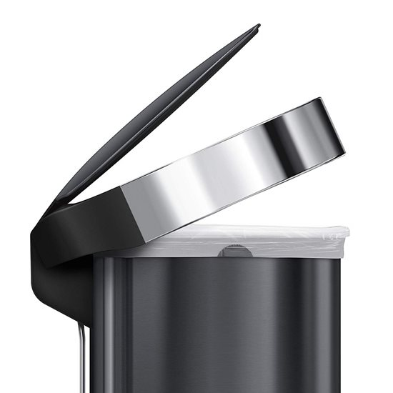 Cos de gunoi cu pedala 45 L inox, negru - SimpleHuman