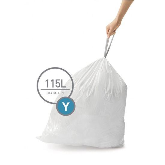 Saci de gunoi cod Y, 115 L/ 200 buc. plastic - SimpleHuman