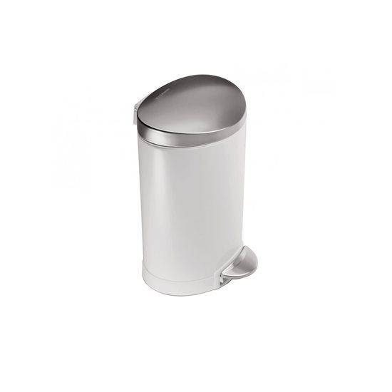 Cos de gunoi cu pedala 6 l inox, alb - SimpleHuman