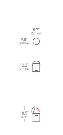 Cos de gunoi cu pedala 4,5 l inox - SimpleHuman