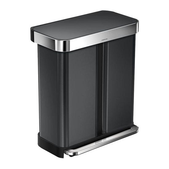 Cos de gunoi dublu compartimentat cu pedala 58 L inox, negru - SimpleHuman